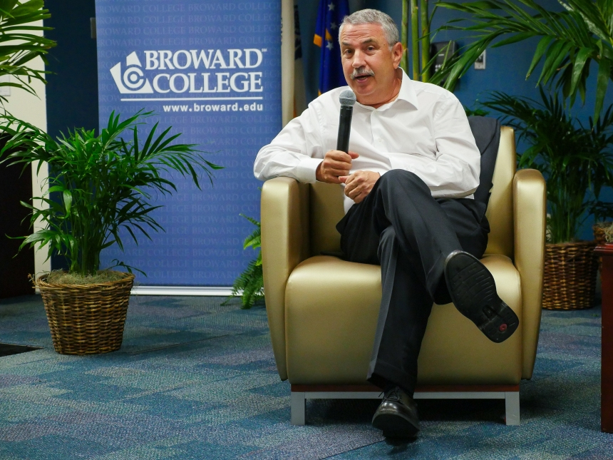 Thomas Friedman, Pultizer Prize winner, talkes about gun control at BC.