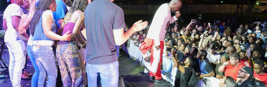 Wyclef Jean performing during Seahawk Fest.