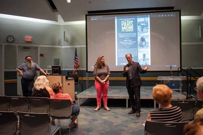 "Left: Samantha Danchuk, Assistant Director of Broward County Environmental Planning, and Broward County Commissioner Beam Furr, right, discuss climate change and the documentary film ""From Paris to Pittsburgh."" / Photos courtesy of Nazli Amirghasemi"